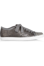 Metallic lizard-effect leather sneakers