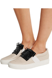 Fringed two-tone leather slip-on sneakers