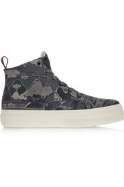 Odyssey Peshawar embroidered twill high-top sneakers