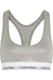 Metallic stretch cotton-blend sports bra