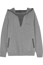 Evolve brushed cotton-blend hooded top