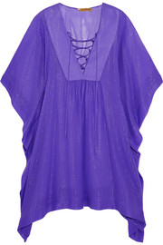 Metallic-striped silk-blend chiffon kaftan