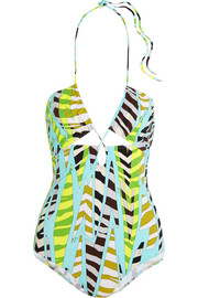Gazelle printed cutout halterneck swimsuit