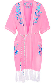 Embroidered silk crepe de chine kaftan