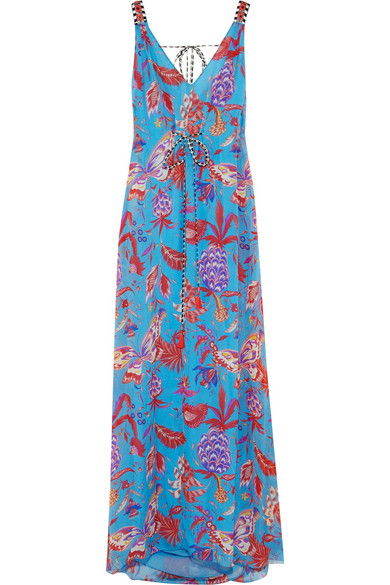 Pineapple Paisley silk mousseline maxi dress