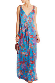 Pineapple Paisley silk-mousseline maxi dress