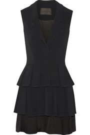 Pleated stretch-cady mini dress