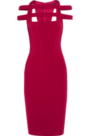 Cutout stretch-satin jersey dress