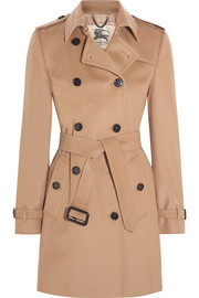 Burberry London The Kensington Mid wool and cashmere-blend felt trench coat