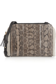 Marché elaphe and suede shoulder bag