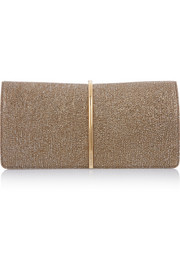 Arc metallic textured-leather clutch