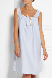 Striped cotton Oxford nightdress