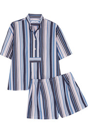 The Sleep Shirt Striped cotton Oxford pajamas