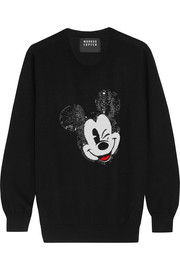 + Disney� Winking Vintage Mickey sequined merino wool sweater