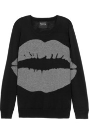 Big Smacker lip-intarsia metallic wool-blend sweater