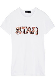 Star sequined cotton T-shirt