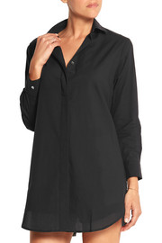 Marilyn lace-paneled cotton-poplin nightshirt