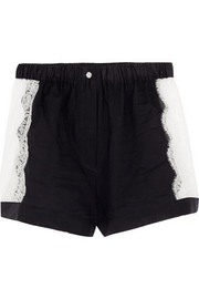 Raphaella Riboud Fred lace-paneled cotton-poplin shorts