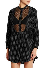 June lace-paneled polka-dot cotton-poplin nightshirt