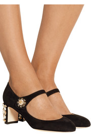 Swarovski crystal-embellished suede Mary Jane pumps