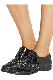 Dolce & Gabbana Embellished patent-leather brogues
