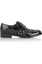 Embellished patent-leather brogues
