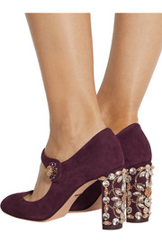 Crystal-embellished suede Mary Jane pumps
