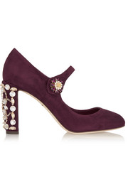 Dolce & Gabbana Crystal-embellished suede Mary Jane pumps