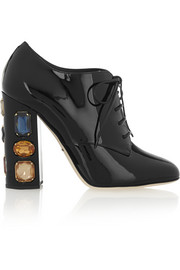 Swarovski crystal-embellished patent-leather ankle boots