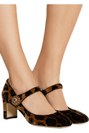 Leopard-print velvet Mary Jane pumps