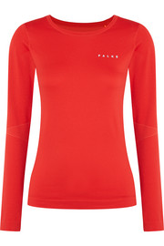 Mesh-paneled stretch-jersey top
