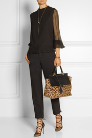Lanvin Leopard-print calf hair and leather tote