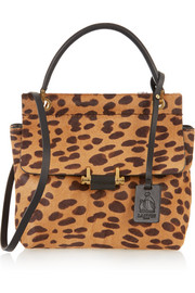 Lanvin Essential leopard-print calf hair and leather shoulder bag