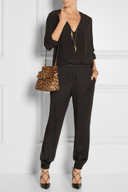 Essential leopard-print calf hair and leather shoulder bag