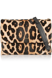 Sugar medium leopard-print calf hair and leather shoulder bag