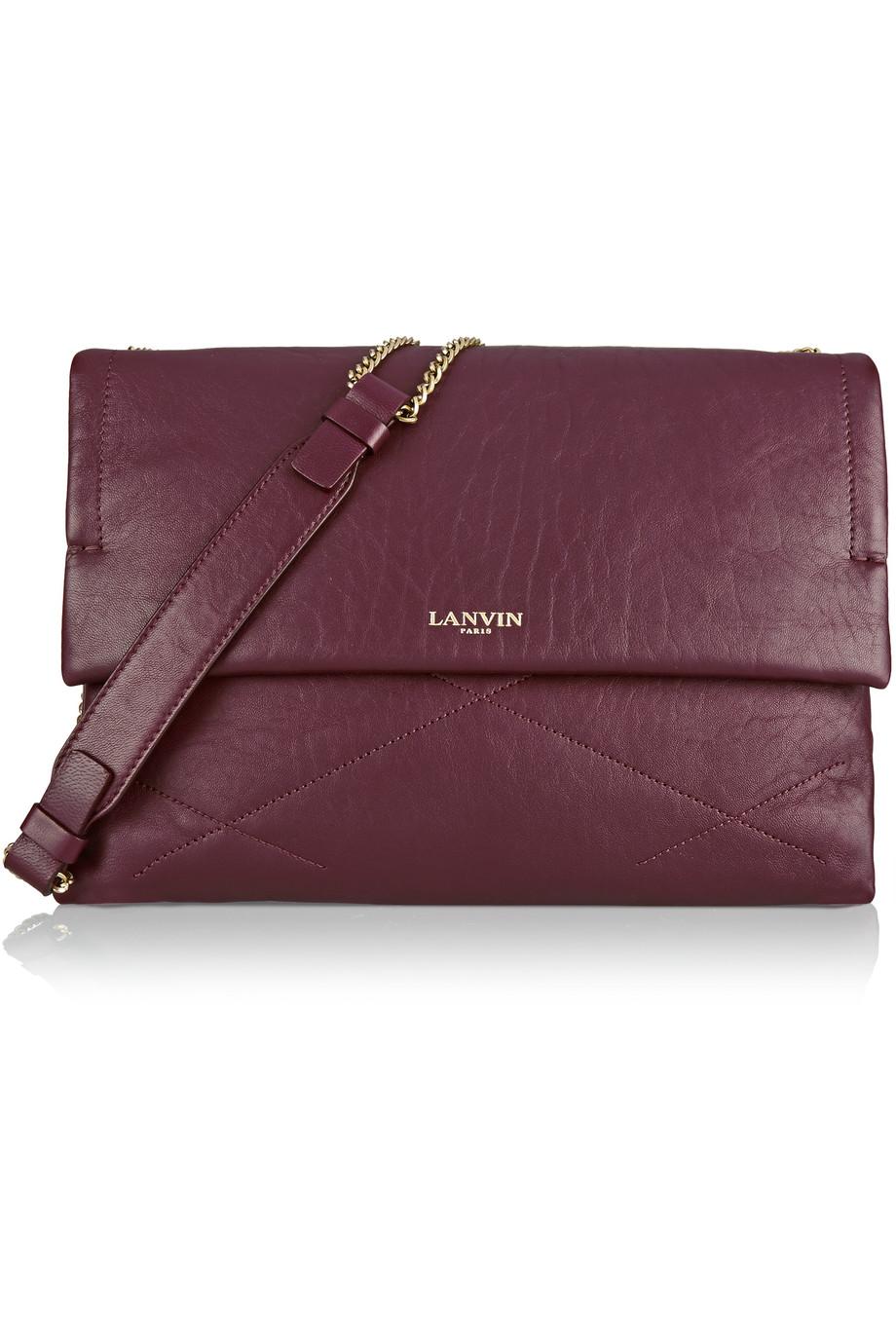 Lanvin Sugar Medium Quilted Leather Shoulder Bag, Burgundy, Women's
