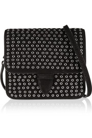 Rivet mini eyelet-embellished suede shoulder bag