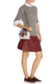 Paula Cademartori Dun Dun mini appliquéd leather and suede shoulder bag