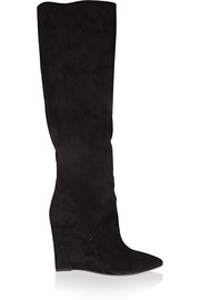 Suede wedge knee boots