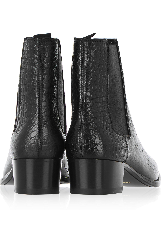 SAINT LAURENT Wyatt croc-effect leather ankle boots