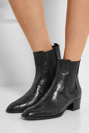 Wyatt croc-effect leather ankle boots