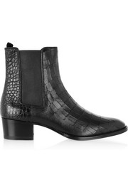 Saint Laurent Wyatt croc-effect leather ankle boots