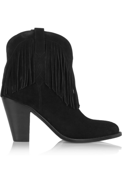 Saint Laurent - New Western Fringed Suede Ankle Boots - Black