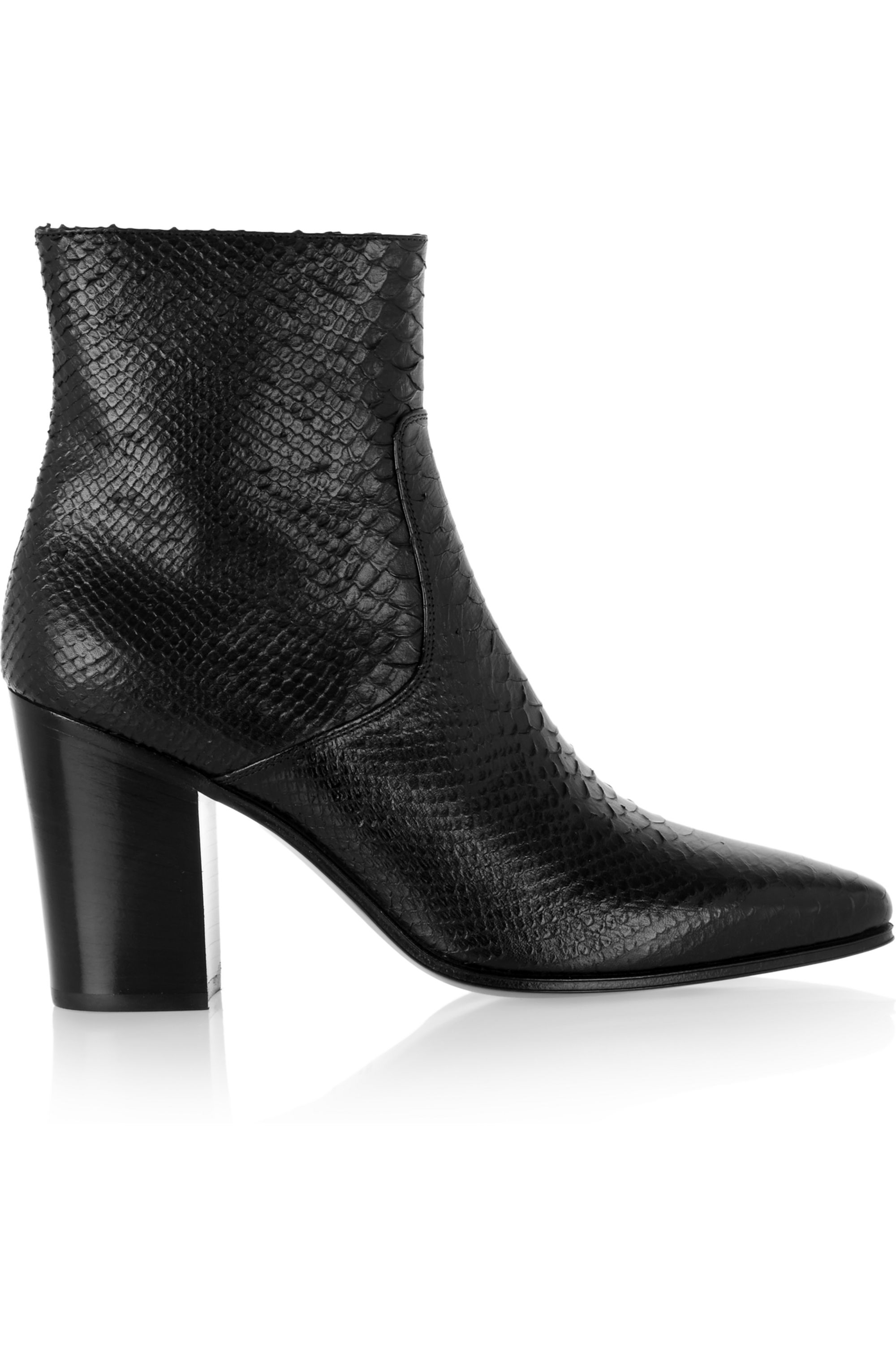 Black Snake-effect leather ankle boots