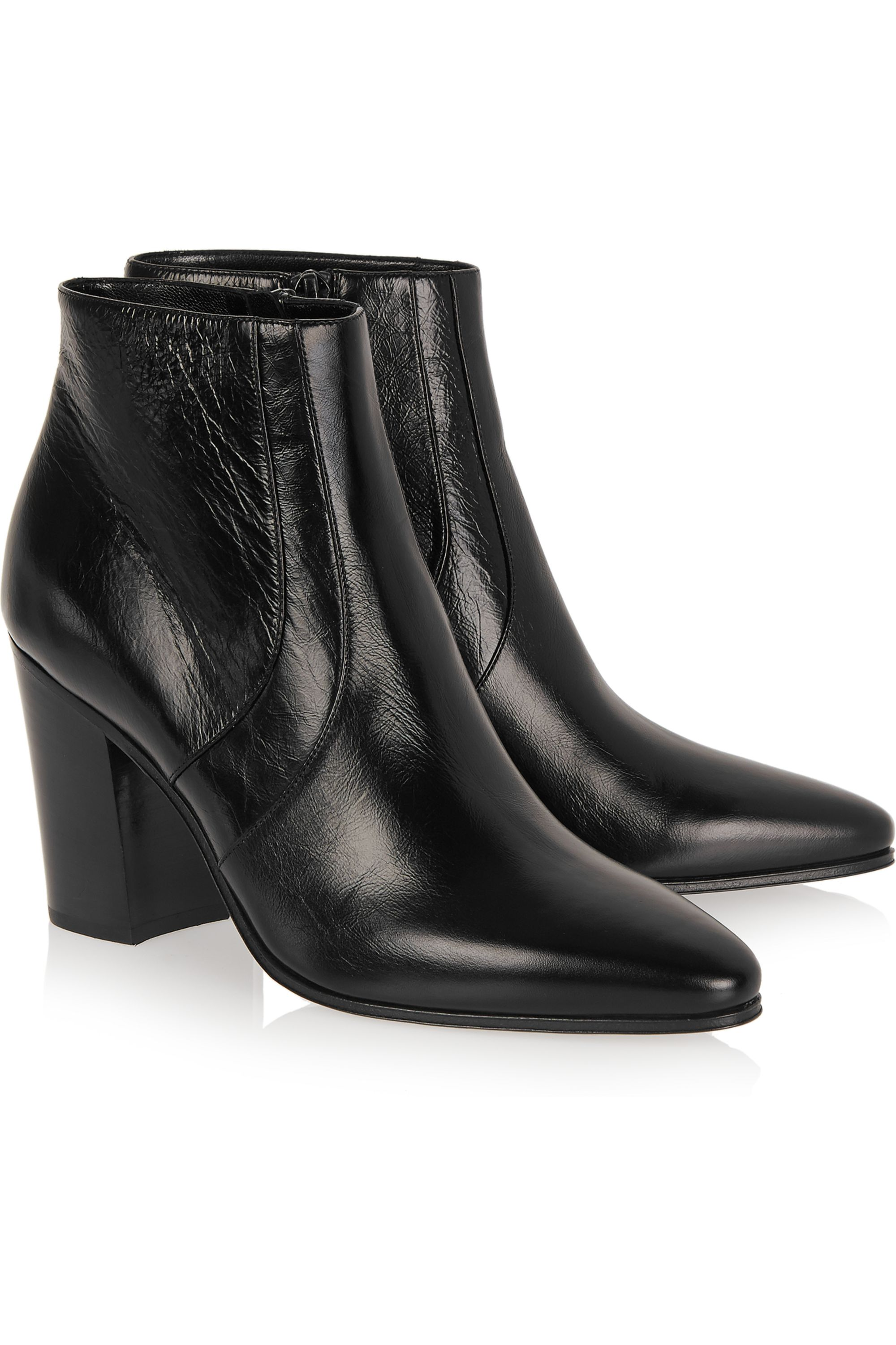 SAINT LAURENT Textured-leather ankle boots