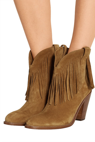 Saint Laurent | New Western fringed suede ankle boots | NET-A ...