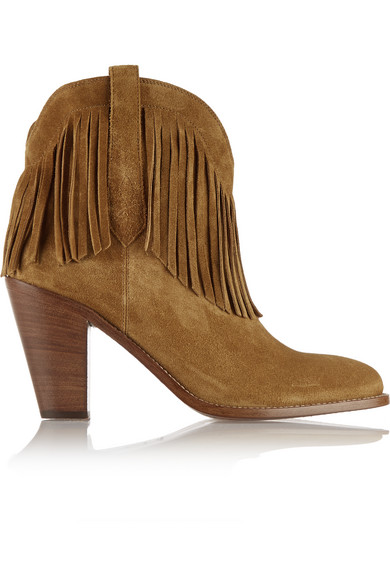 Saint Laurent - New Western Fringed Suede Ankle Boots - Tan