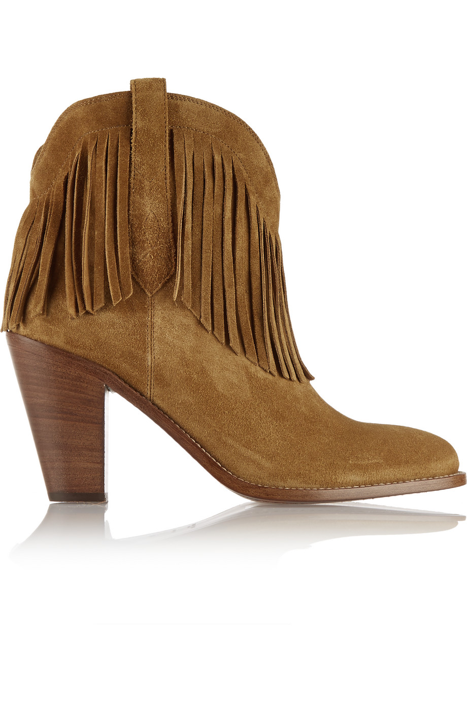 Saint Laurent New Western Fringed Suede Ankle Boots, Tan, Women's US Size: 4.5, Size: 35