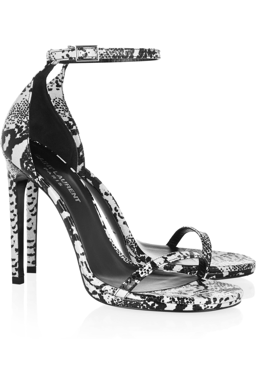 SAINT LAURENT Jane lizard-effect leather sandals