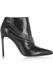 Saint Laurent Chain-embellished leather ankle boots